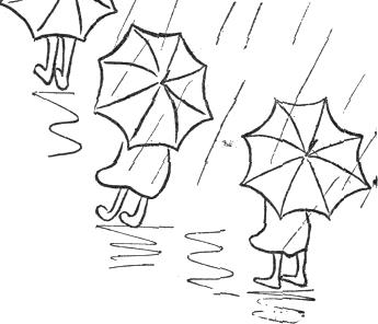 pouring rain on umbrellas